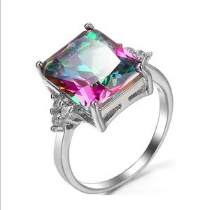 .925 Sterling Silver Iridescent Princess Cut Ring